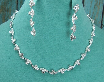 Crystal Rhinestone Vine Swirl Jewelry Set, Crystal Wedding Necklace Set, bridal jewelry set, wedding set, bridesmaid jewelry set 210716955