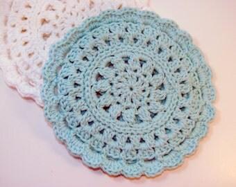 Light Blue Crocheted Cotton Trivet
