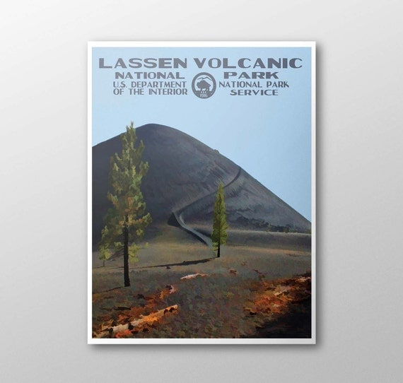 lassen volcanic national park poster by purplemoosebasics on etsy. Black Bedroom Furniture Sets. Home Design Ideas