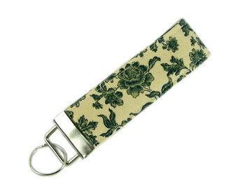 Personalized Key Chain / Key Fob Floral Toile Green With Optional Initials