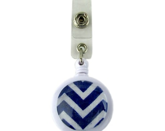 Retractable Badge Pull Reel with Blue Chevron Cabochon