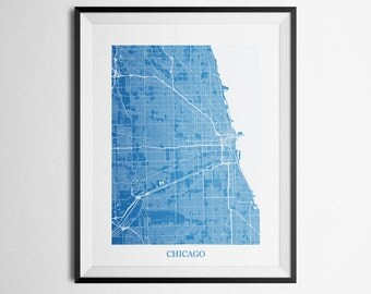 Chicago, Illinois Abstract Street Map Print