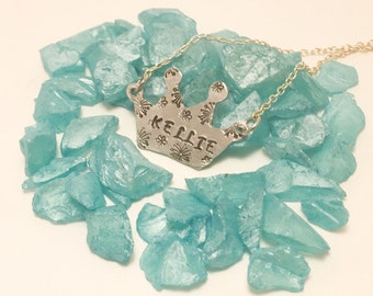 Personalized Hand stamped Crown necklace