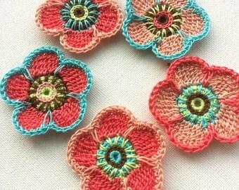 Crochet flower applique 5PCS in peach light red decoration trimming embelishments