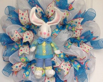 Adorable Plush Easter Bunny with dangling coiled legs Deco Mesh Wreath