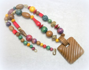 African Wood Bead Statement Necklace - Vintage Boho Tribal Jewelry