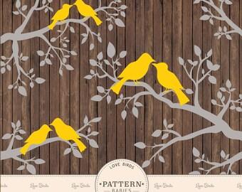 Premium Yellow Love Birds Clip Art & Vectors - Wedding Clipart, Branch Clipart, Branch Vectors, Love Bird, Lovebird Clipart, Wedding Vectors