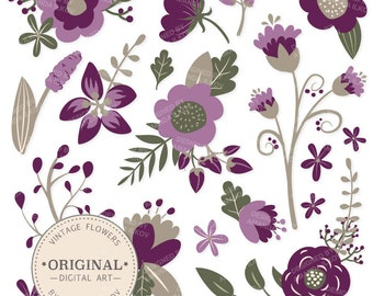 Premium Plum Floral Clipart & Flower Vectors - Plum Flowers, Vintage Flowers, Flower Clip Art, Vector Flowers