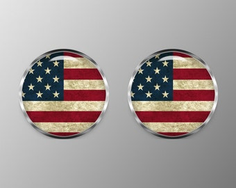 American Flag Cufflinks, Weathered American Flag Cuff Links, Rustic American Flag Cufflinks, C0095