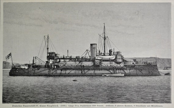 SMS Siegfried  battleship print. Old book plate, 1904. Antique  illustration. 110 years lithograph. 9'6 x 6'2 inches.