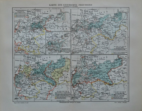 Historical Prussia's map. Old book plate, 1904. Antique  illustration. 111 years lithograph. 9'6 x  11'9 inches.