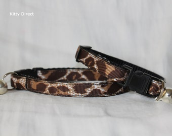 Handmade Fabric Leopard, Animal Print Kitten & Cat Safety Collars. Removable Bell, 2 Sizes, Charm. Handmade to Order.
