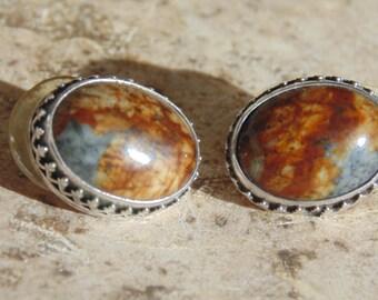 LaRose Ganadonegro ~ Navajo Sterling Silver and Stone Earrings for Pierced Ears