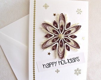 handmade paper quilled Christmas card – Happy Holidays snowflake