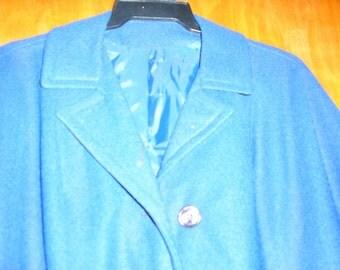 Vintage ladies jacket. Pea coat type. Dark blue.