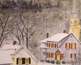 watercolor painting,village scene painting,winter painting,houses,church-landscape art sale, church painting,snow painting, winter painting