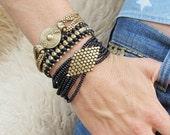 Geometric Brass Bracelet, Boho Bracelet, Tribal Bracelet, Brass Bracelet, Beaded Bracelet, Bohemian Bracelet, Tribal Jewelry, Boho Jewelry