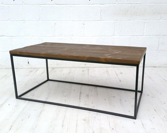 Vintage industrial coffee table, reclaimed timber u0026 solid square bar.