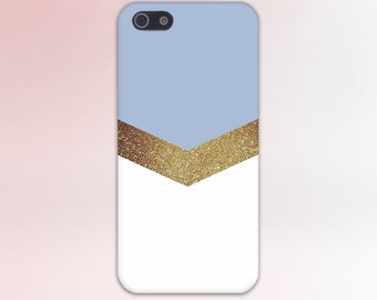 Gold Glitter Sky Blue Chevron Design Handmade Case, iPhone 7, iPhone 7 Plus, Tough iPhone Case, Galaxy s8, Samsung Galaxy Case, CASE ESCAPE