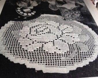 Rose o'Summer Doily Vintage Filet Crochet Pattern PDF