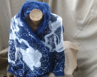 Very soft and gentle scarf,Sports and elegant scarf,Felted woman clothing,Blue and White scarf,Merino wool scarf,Woman gift,Own design