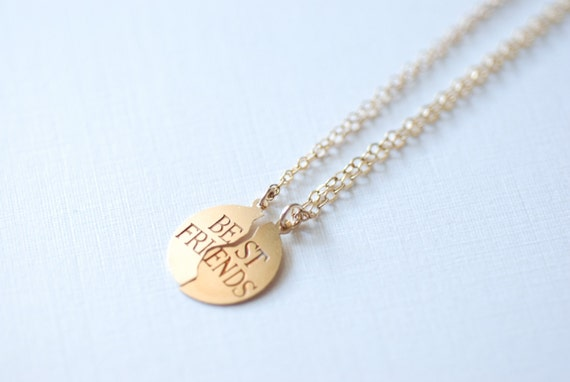 Best Friend Necklace- 14k gold filled Charm// 14k gold filled Chain, Delicate Jewelry by HeirloomEnvy