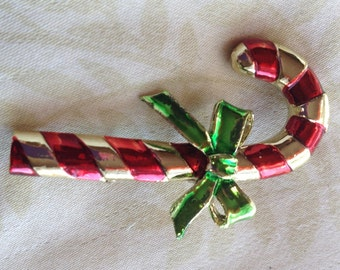 Vintage Red and Green Enameled Gold Tone Candy Cane Pin Stamped GERRY'S