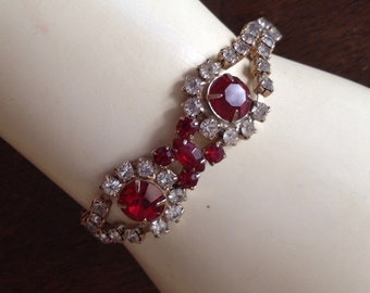 Vintage Red and White Rhinestone Bracelet