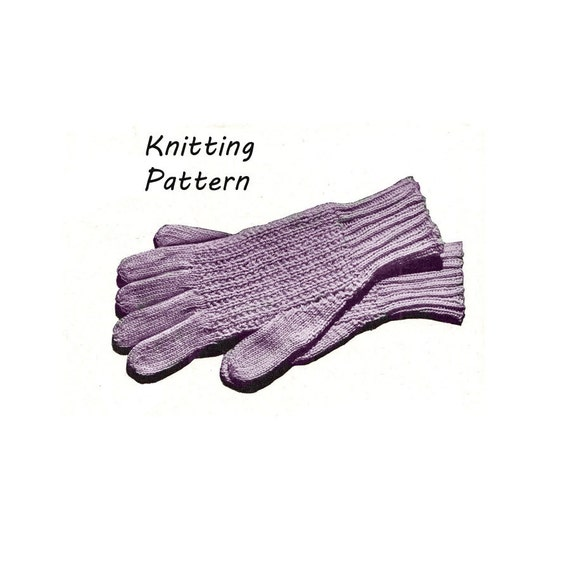 Knitting Pattern Gloves Child : 1940s Childs Winter Glove Knitting Pattern Vintage