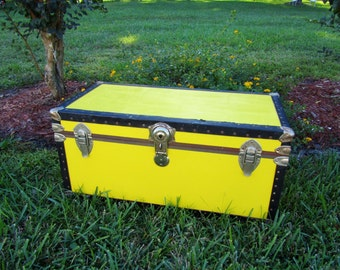 Yellow Steamer Trunk, Trunk, Retro, Steampunk, Photo prop, storage chest, luggage,mid century,storage