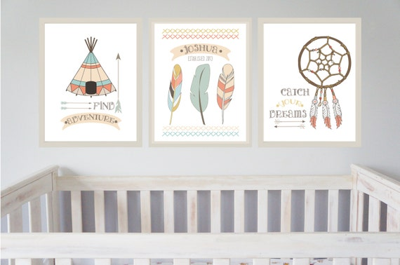 tribal indian nursery prints set of 3 little indian boys