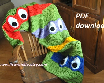 TMNT Blanket Crochet Pattern/ teenage mutant ninja turtle/ PDF download