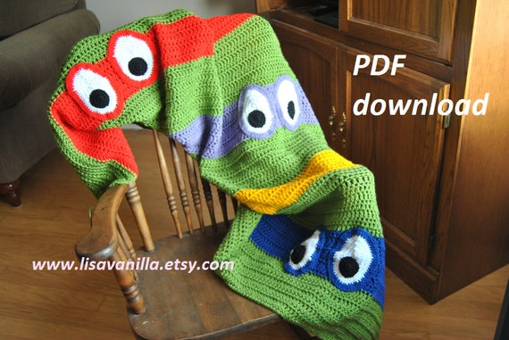 Crochet Pattern For Ninja Turtle Blanket : TMNT Blanket Crochet Pattern/ teenage mutant ninja turtle ...