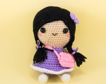 Crochet Girl Doll with Plaits Amigurumi  --  Crochet doll for home decor and desk decor