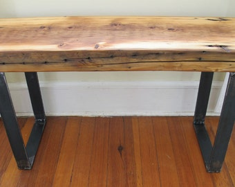 Wood Entry Bench with Steel U Legs ,Salvaged wood from NYC