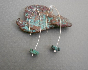 Sterling Silver Earrings with Turquoise Accent