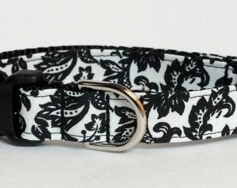 Black Damask Dog Collar