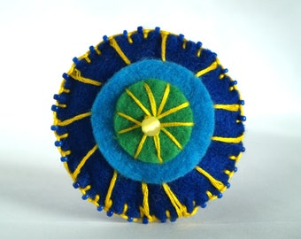 Felt Button Brooch-Blue Green and Yellow-Button Brooch-Perfect For Brightening Your Wardrobe