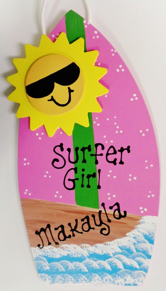 Surfboard surfer girl personalized name sign pool kids room for Surfboard craft for kids