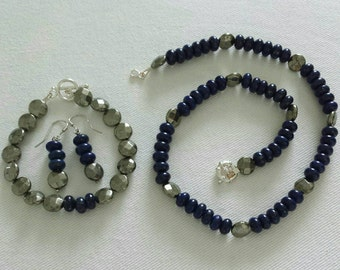 Lapis Lazuli and pyrite beaded necklace, bracelet and earrings.