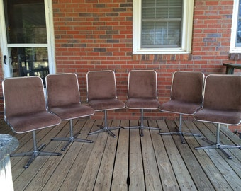 Rare Set of 6 Six Vintage Mid Century Modern Chrome Swivel Chairs