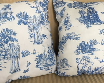 Any two pillows in my shop, your choice, mix or match.Price and postage reduced. Approximately 15 by 15 inches. Coordinating backing.