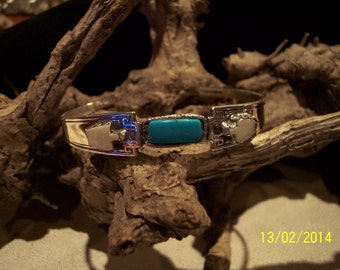 Solid Sterling Silver Turquoise Cuff bracelet.