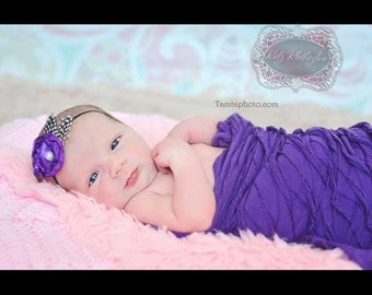 Delicate Flower with Burnt Edges Center Pearl & Feather Headband Newborn Photo Prop