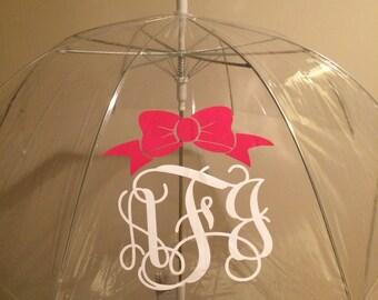 Clear Dome Monogram Umbrella - 46 inches - Personalized Umbrella