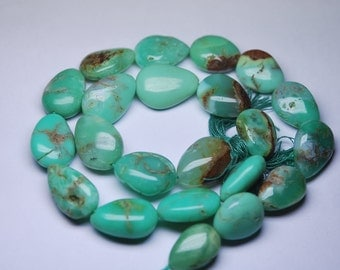 15 Inch Strand, Grams 58, Chrysoprase Smooth Nuggets, 16-19mm,