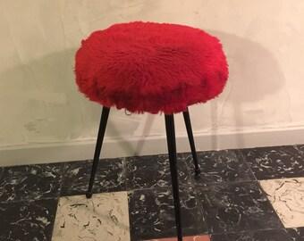 fur stool etsy. Black Bedroom Furniture Sets. Home Design Ideas
