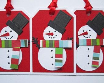 Snowman Christmas Gift Tags - Christmas Tags - Holiday Gift Tags - Christmas Gifts - Christmas Wrapping - Christmas Gift Wrap - Set of 5