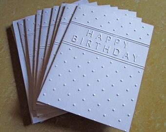 Happy Birthday Cards Set, White Embossed Cards Set, Happy Birthday Card Set, Happy Birthday Greeting Cards, Boxed Birthday Cards