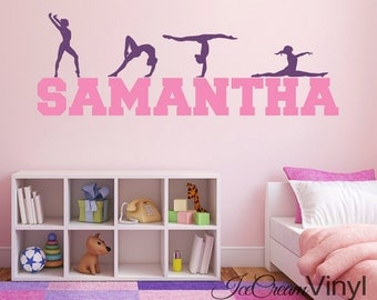 Name Wall Decal Gymnastics Vinyl Kids Wall Decal Sports Decor
